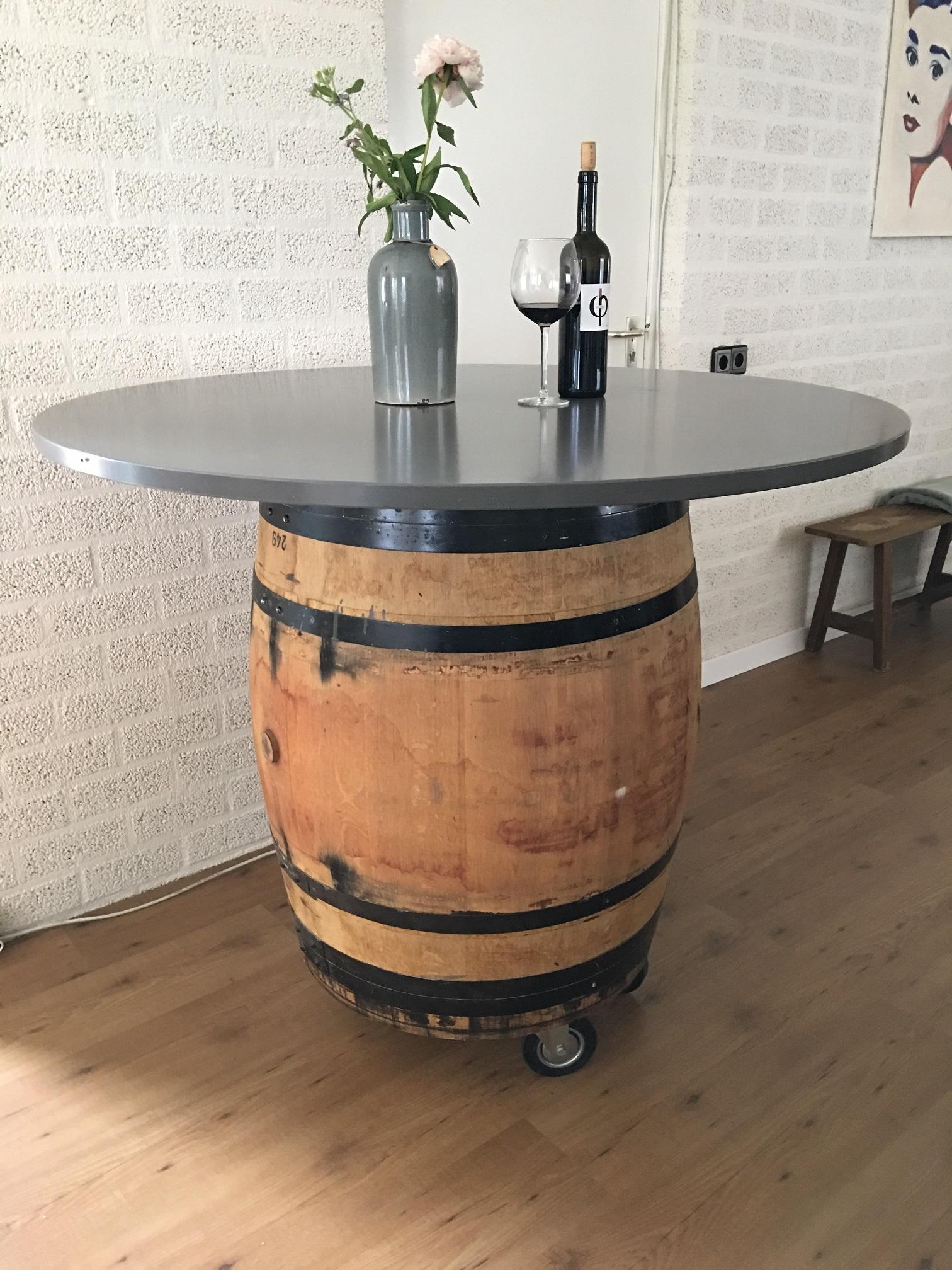 Beroemd Wijnvat hout, origineel uit Frankrijk, als statafel! - HANDGEMAAKT.EU KU74